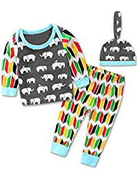 da45cc64ca2f ChicNChic 3pcs Toddler Baby Boys Clothes Long Sleeve Elephant Tops Hat  Printed Pants Outfit Set 24M
