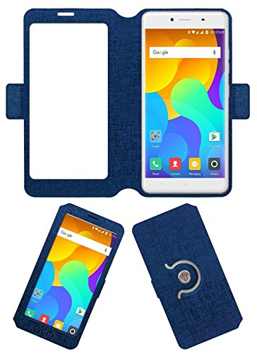 ACM SVIEW Window Designer Rotating Flip Flap Case for Yu Yureka 2 Mobile Smart View Cover Stand Blue