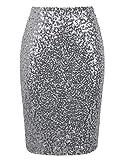 PrettyGuide Damen Pailletten Rock Hohe Taille Funkeln Bleistift Rock Party Cocktail M Silber