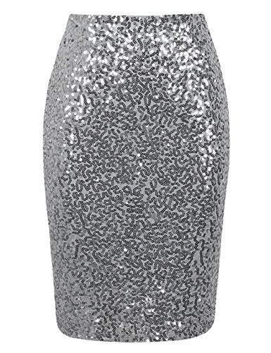 PrettyGuide Damen Pailletten Rock Hohe Taille Funkeln Bleistift Rock Party Cocktail XL Silber
