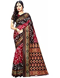 Kanchnar Women's Art Silk Maroon And Brown Bandhani Printed Festive Wear Saree