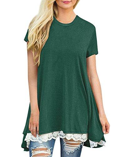Auxo Damen Kurzarm Shirt mit Spitze T-Shirt Rundhals Oberteil Asymmetrisch Tops Longshirt Grün EU 44/Etikettgröße XL