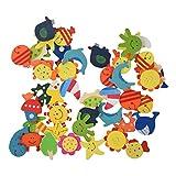 Imanes - TOOGOO(R) 48pzs Imanes de madera coloreados de dibujo animado para los ninos.