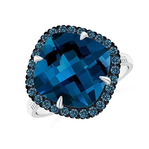 Angara.com - 14 Kt Weißgold Kissenschliff London Blue Topaz (Ring In London Topas Weissgold Blue)