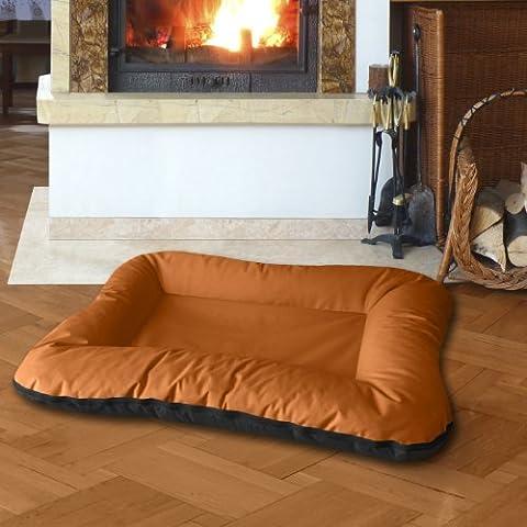 BedDog 2in1 Hundebett VERA / Wende-Hunde-Kissen oval / großes Hundekörbchen / waschbares Hundebett mit Rand / Hundesofa für drinnen & draußen / XXXL / SUNSET / orange-schwarz