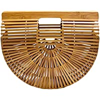 FENICAL Bolso de bambú para Mujer Hecho a Mano de Gran tamaño Bolso de Verano de Paja de bambú del Bolso de Playa (tamaño S) (como se Muestra)