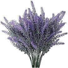 amkun Artificial flores color lila lavanda artificial ramo de flores para decoración del hogar y decoraciones de boda–4paquetes