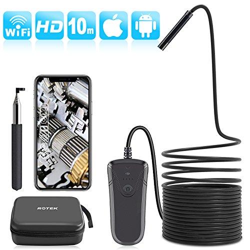 ROTEK Endoskopkamera WiFi, Kabelloses Handy Endoskop Kamera 1080P HD 2.0 MP, Inspektionskamera IP68 Wasserdichte mit 8 LED Licht, 50cm Brennweite Boreskop für Android iPhone IOS Smartphone ipad - 10M (Wireless Ip-kamera Außerhalb)