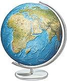 Columbus Duorama Reliefglobus: 40 cm Durchmesser. Mundgeblasene Kristallglaskugel, traditionell handkaschiertes Kartenbild Metallfuß und -meridian, Edelstahlausführung