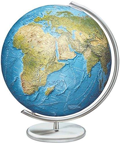 Columbus Duorama Reliefglobus: 40 cm Durchmesser. Mundgeblasene Kristallglaskugel, traditionell handkaschiertes Kartenbild Metallfuß und -Meridian, Edelstahlausführung -