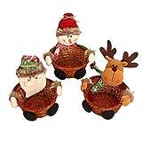 Chenqi 2PCS Weihnachtssüßigkeit-Speicher-Korb-Dekoration Weihnachtssankt/Schneemann / Elch (Alter Mann, S)