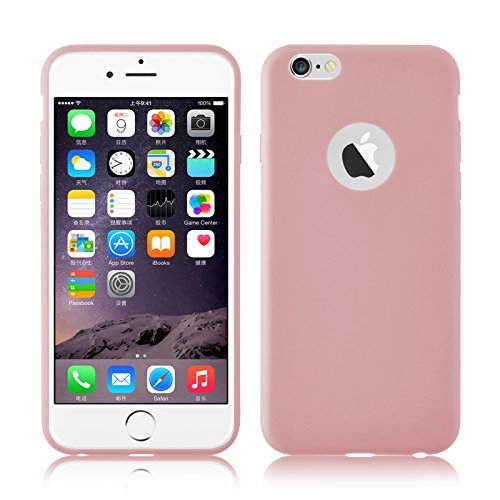 JAMMYLIZARD Silikonhülle für iPhone 6 / 6s | Ultra Slim Handyschale 0.8mm Skin Case Hülle [Jelly Back Cover] Schutzhülle aus mattem TPU-Silikon, Rosa Pink