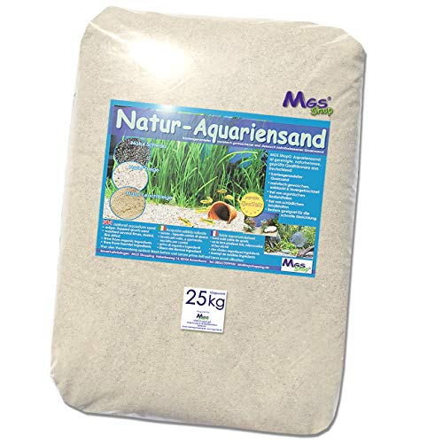 MGS SHOP Aquariensand 25kg gerundet Natur BEIGE geprüfte Qualität Körnung (0.5-1mm)