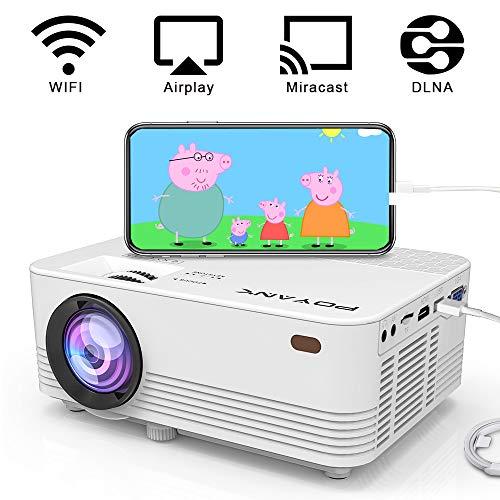 [WiFi Beamer] POYANK Beamer, WiFi Projektor, Mini Beamer, Videobeamer unterstützt Airplay Miracast DLNA Funktion, Verbindung mit Smartphone Fire TV Stick Spielkonsole HDMI, VGA, TF, USB, Weiß.