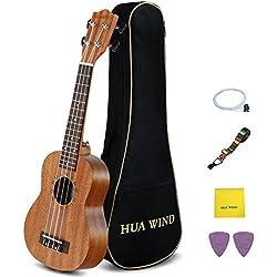 Hua Wind Soprano Ukulele 21 pulgadas de caoba ukulele Starter Kit con bolsa de viaje, correa, escoge, Extra Ukulele cadenas, paño de pulido
