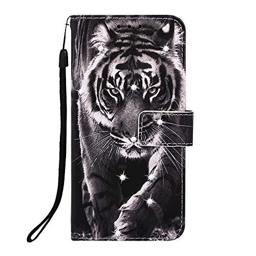 Fatcatparadise für Samsung Galaxy A10S + Displayschutz,[Diamant-Serie] PU Leder Tasche Gemalt Muster Flipcase Cover Brieftasche Handyhülle Schutzhülle Handytasche (Tiger 2)