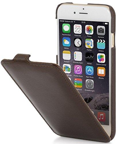 StilGut Lederhülle kompatibel mit iPhone 6 Plus vertikales Flip-Case, mahagonibraun Nappa - Iphone Vertikal Leder 6 Case