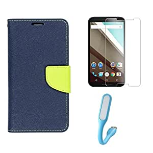 Motorola Moto E Flip Cover With Tempered Glass And LED By Relax&Shop (Blue Green+Tempered+ LED Light)