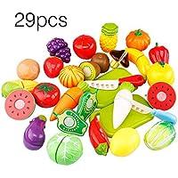 29 UNIDS/Conjunto Niños Únicos Niños Cortando Frutas Vegetales Comida Juegos de Juego Juguetes Educativos de Cocina para Niños