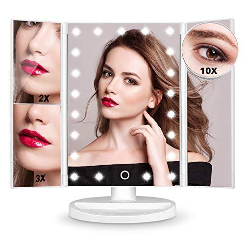 HAMSWAN Espejo de Maquillaje, [Regalos] Espejo de Mesa Tríptico con Aumentos 10X, 3X, 2X y 1X, Espejo Cosmético Pantalla Táctil en Iluminacíon 21 Led, Carga con USB o Batería, Adjustable 180º