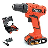 Cordless Drill Screwdriver, 21V Power Electronic Cordless Drill Driver Set, 1.5Ah Lithium-ion Screwdriver