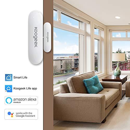 Sensor de Puerta Wifi,  Koogeek Alarma para puertas y ventanas, Controles Remotos,  funciona con Alexa,  Google Home,  Seguridad para el hogar,  IOS y Andriod,  no Hub
