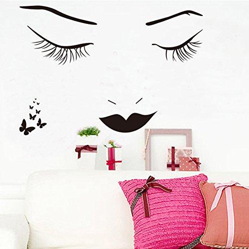 Wallpark Moderne Romantique Noir Lignes Cils Beauté Fille Papillon Amovible Stickers Muraux Autocollants, Salon Chambre Maison DIY Décoratif Adhésif Stickers Mural