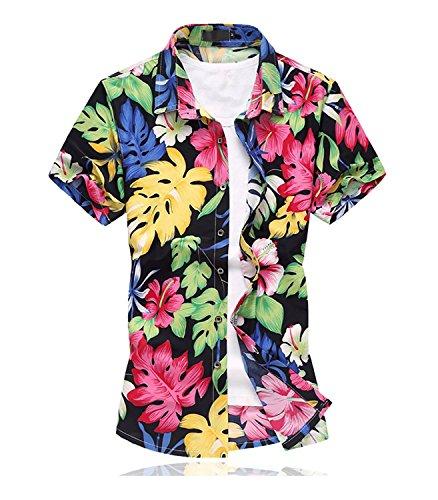5bff04b240d Camisa hawaiana de manga corta para hombre. verde verde Medium