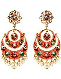 8eca850dba2 Padmavati Inspired Traditional Fashionable Handcrafted Wedding Collection  Multicolor Floral Meenakari Chandbali Earring Kundan earring Party Wear