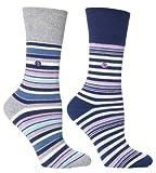Womens Navy Stripe Cushion Foot Honeycombe Top Gentle Grip Sock By Sock Shop 4pk
