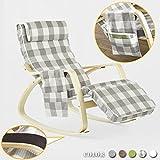 SoBuy NEU Schaukelstuhl mit Tasche (verstellbares Fußteil),Relaxstuhl,Relaxsessel FST18-KR