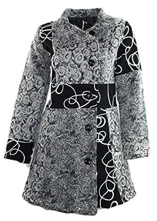 #684 Damen Designer Patchwork Winter Mantel Trenchcoat Wintermantel 36 38 40 42 (38)