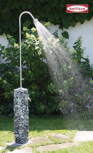 Gabionen-Gartendusche Wasseranschluss integriert