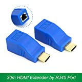 #5: Microware HDMI to RJ45 Extender Adapter (Receiver & Transmitter) by Cat-5e/6 Cable, Transmission Distance: 30m (Blue)