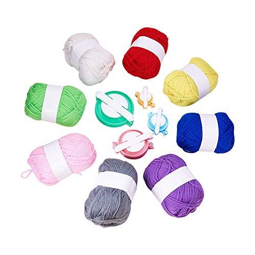 PandaHall Elite - Kits d'Outil de Pompons Maker Pompons Machines à Pompons Fluff Peluches Boule Weaver DIY Tricot Outil et Pelotes de Laine Polyacrylonitrile Fibre Fil Pour Fabriquer des Pompons de Tissage, Couleur Melangee