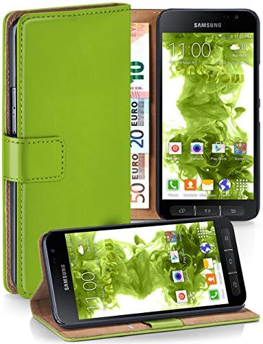 moex Samsung Galaxy Xcover 4 | Hülle Grün mit Karten-Fach 360° Book Klapp-Hülle Handytasche Kunst-Leder Handyhülle für Samsung Galaxy Xcover 4 Case Flip Cover Schutzhülle Tasche