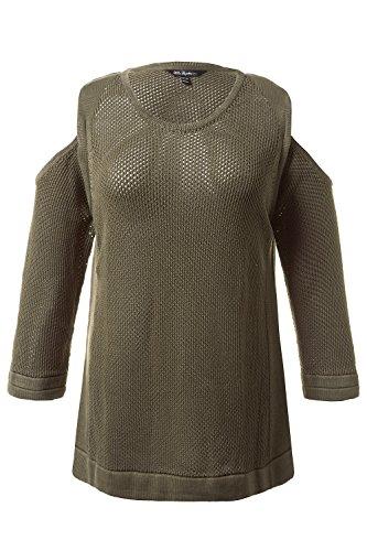 Ulla Popken Femme Grandes tailles Pullover maille structurée look délavé épaules échancrées manches ¾ 710450 roseau foncé