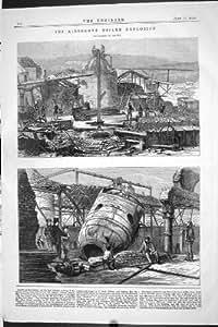 Ingénierie 1870 de Machines de Latham d'Explosion de Chaudière À Vapeur de Kidsgrove