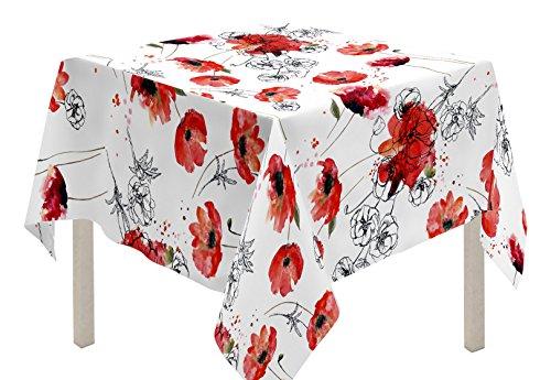 Soleil d'ocre Nappe carrée, Polyester, Rouge, 180x180 cm