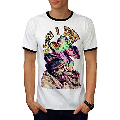 Bis ich Sterben 420 Rasta Lit Zigarette Herren L Ringer T-shirt | Wellcoda (Krebs-ringer)
