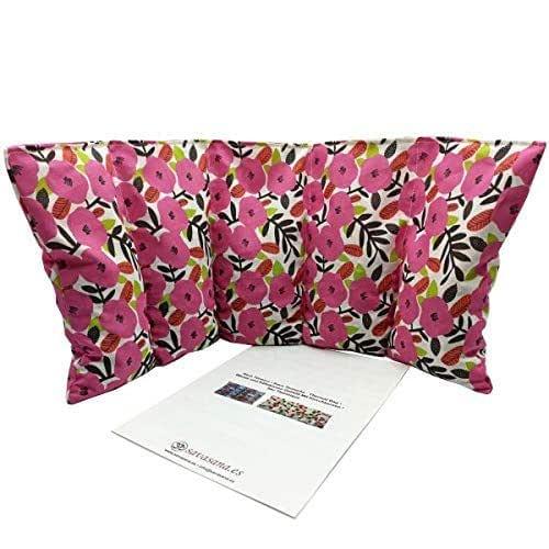 """Cuscino termico """"PETUNIE - ROSA"""" - 50 x 20 cm (XL) - pieno di noccioli di ciliegia 800gr - effetto freddo/caldo . saco termiche"""