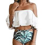 ASSKDAN Damen Damen Bandeau High Waist Bikini Set Bademode Swimwear Badeanzug (EU 38, Weiß)