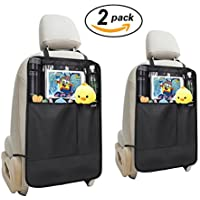 Kick Mats Car Organiser 2 PCS, ieGeek Car Seat Back Protector with Clear iPad Tablet Holder & Multiple Organiser Pockets, Heavy Duty Kick and Stain Protection for Kids Children, Universal Waterproof Car Seat Upholstery Protector for Car, SUV, Minivan, Truck Seats - Black 2 PCS