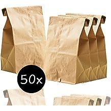 50x braune 265 x 170 mm Kraftpapier mini / klein Tüten Beutel Papiertüten Verpackungstüten Kraftpapiertüten Brottüten Geschenktüten Geschenkbeutel