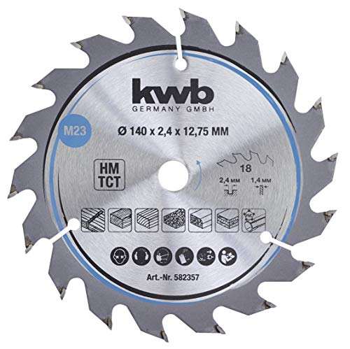 kwb 582357 Span-Platten Kreissäge-Blatt, Holz-/Hartholz-Sägeblatt, 140 x 12,7 mm, saubere Schnitte, mittlere Zahl, 18 Zähne Z-18