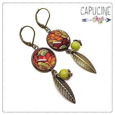 Boucles d'oreilles pendantes avec cabochon fleurs orange, rouge et vert - boucles d'oreilles thème fleurs - Fleurs du Soleil