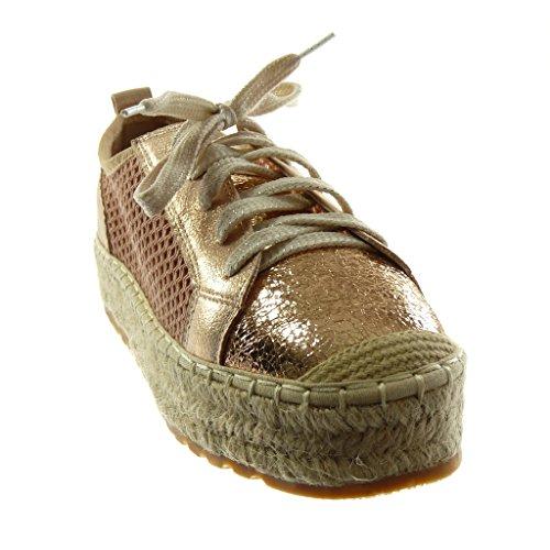 Angkorly Scarpe Moda Sneaker Espadrillas Zeppe Donna Perforato Corda Lucide Tacco Tacco Piatto 3.5 cm Champagne