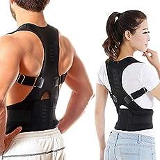 Back Brace Genkent Magnetic Therapy Posture Corrector,Shoulder Back Support Belt for Men Women Braces & Supports Belt Shoulder Posture-Black (XXl)