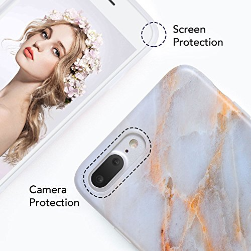 iPhone 8 Plus Marble Case, iPhone 7 Plus Marble Case, Imikoko Matt Soft Silicone Phone Case Stone Marble Painting Slim TPU Bumper Phone Case Flexible Protective Back Back Marble Lines Soft Back Cover  Muster 12