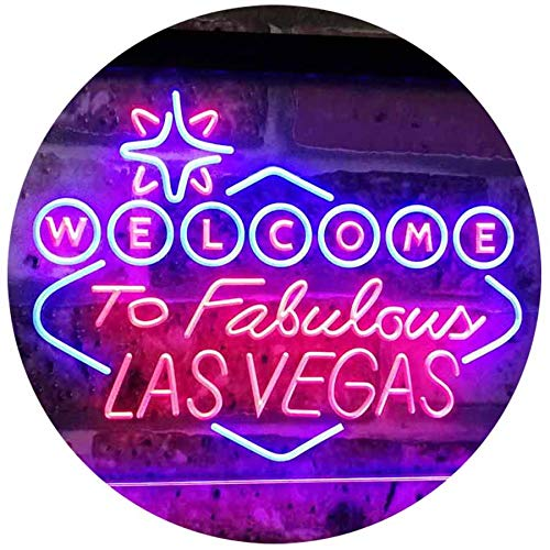 ADVPRO Welcome to Las Vegas Casino Beer Bar Display Dual Color LED Barlicht Neonlicht Lichtwerbung Neon Sign Red & Blue 400mm x 300mm st6s43-i3078-rb -